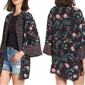 BP Nordstrom Mixed Floral Open Front Kimono (XS/S)